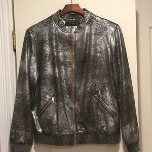 Crush suede silver metallic jacket